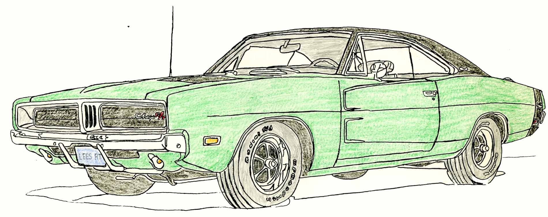Printable coloring pages dodge charger - 69 Charger F6 Colored Sketch